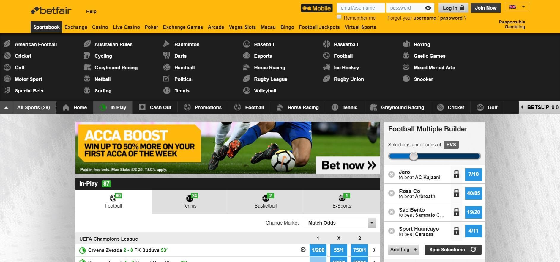 Review of Betfair Sportsbook